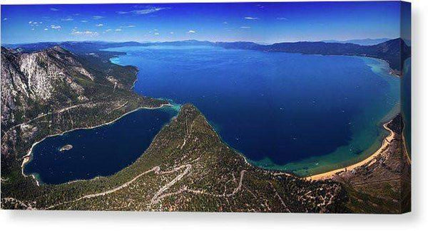 "Lake Tahoe Aerial Panorama - Emerald Bay Aerial - Canvas Print-14.000"" x 6.375""-Lake Tahoe Prints"