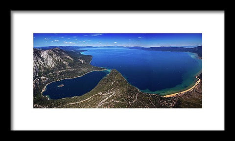 Lake Tahoe Aerial Panorama - Emerald Bay Aerial - Framed Print-Lake Tahoe Prints