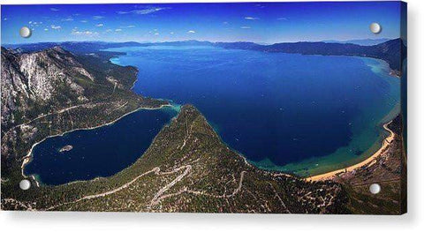 Lake Tahoe Aerial Panorama - Emerald Bay Aerial - Acrylic Print-Lake Tahoe Prints