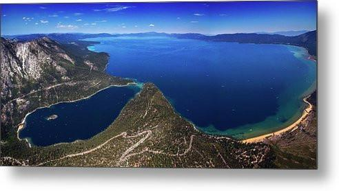 Lake Tahoe Aerial Panorama - Emerald Bay Aerial - Metal Print-Lake Tahoe Prints