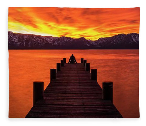 Lake Tahoe Sunset Pier By Brad Scott - Blanket