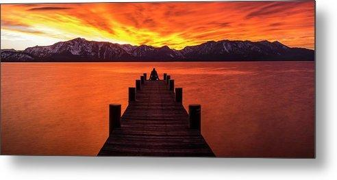 Lake Tahoe Sunset Pier By Brad Scott - Metal Print-Lake Tahoe Prints
