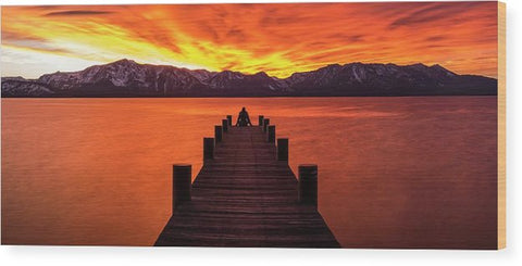 Lake Tahoe Sunset Pier By Brad Scott - Wood Print