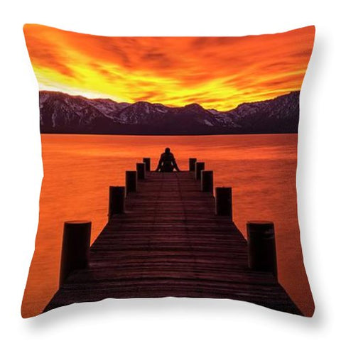 Lake Tahoe Sunset Pier By Brad Scott - Throw Pillow-Lake Tahoe Prints