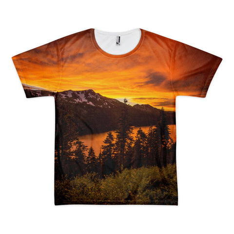 Fiery Skies over Fallen leaf Lake Short sleeve men's t-shirt (unisex)