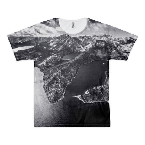 Emerald Bay Aerial Black & White Short sleeve men's t-shirt (unisex)