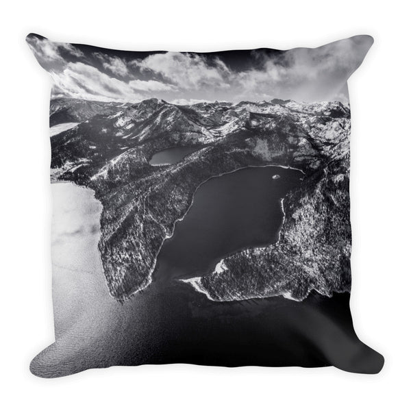 Emerald Bay Aerial Black and White Square Pillow-Lake Tahoe Prints