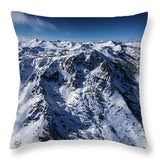 Mt Tallac Winter Aerial - Brad Scott - Throw Pillow-Lake Tahoe Prints