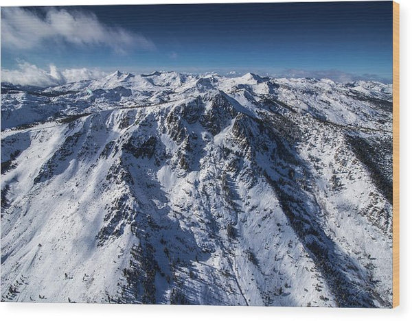 Mt Tallac Winter Aerial - Brad Scott - Wood Print
