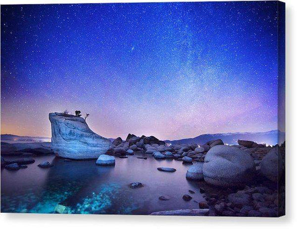 "Night Shine , Bonsai Rock Lake Tahoe - Canvas Print-10.000"" x 6.625""-Lake Tahoe Prints"
