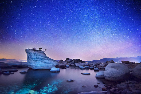 Night Shine , Bonsai Rock Lake Tahoe - Art Print