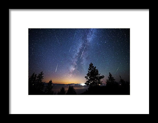 Perseid Meteor Shower From Tahoe - Framed Print