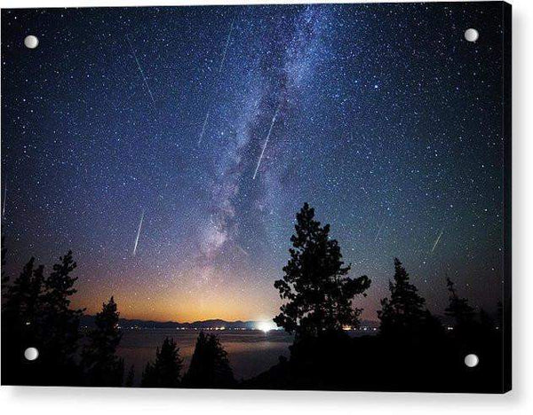 Perseid Meteor Shower From Tahoe - Acrylic Print
