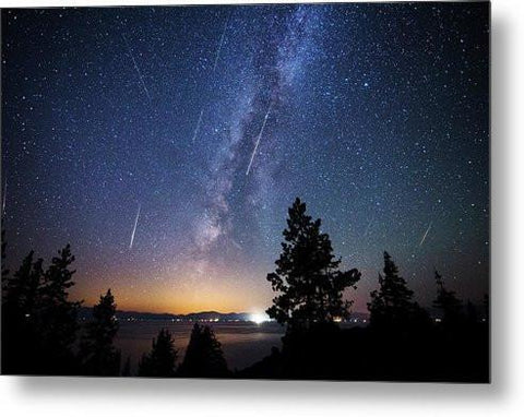Perseid Meteor Shower From Tahoe - Metal Print