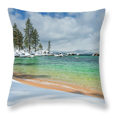 Pristine Shores By Brad Scott - Throw Pillow-Lake Tahoe Prints