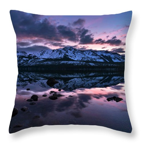 Rose Reflections By Brad Scott - Throw Pillow-Lake Tahoe Prints