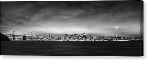 "San Fransisco Cityscape Black And White Panorama - Canvas Print-20.000"" x 6.875""-Lake Tahoe Prints"