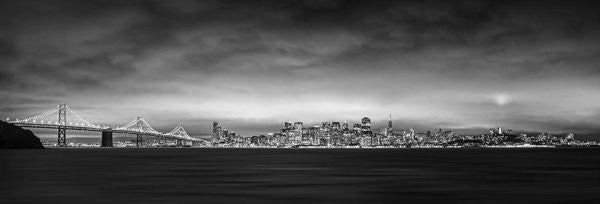 San Fransisco Cityscape Black And White Panorama - Art Print