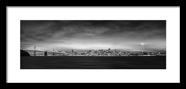 San Fransisco Cityscape Black And White Panorama - Framed Print