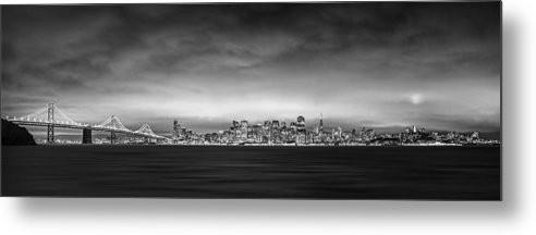 San Fransisco Cityscape Black And White Panorama - Metal Print