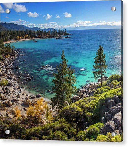 Sand Harbor Lookout By Brad Scott - Square - Acrylic Print