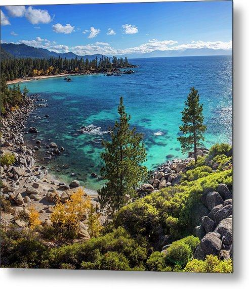 Sand Harbor Lookout By Brad Scott - Square - Metal Print