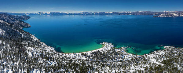Sand Harbor Winter Aerial Panorama by Brad Scott - Art Print