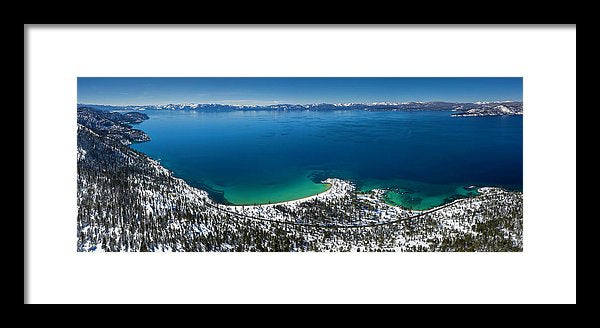 Sand Harbor Winter Aerial Panorama by Brad Scott - Framed Print