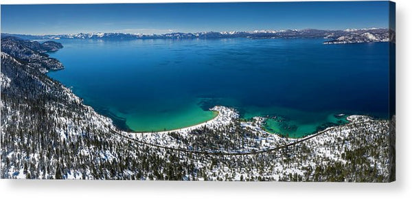 Sand Harbor Winter Aerial Panorama by Brad Scott - Acrylic Print
