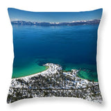 Sand Harbor Winter Aerial Panorama - Throw Pillow