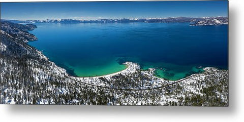 Sand Harbor Winter Aerial Panorama by Brad Scott - Metal Print