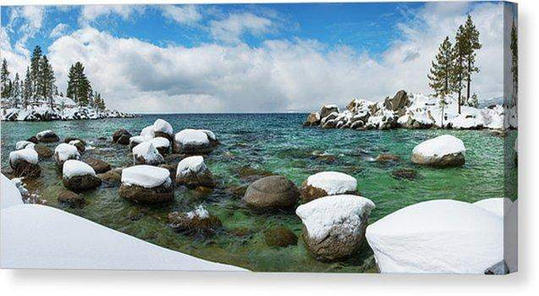 "Sand Harbor Winter Panorama By Brad Scott - Canvas Print-14.000"" x 6.500""-Lake Tahoe Prints"