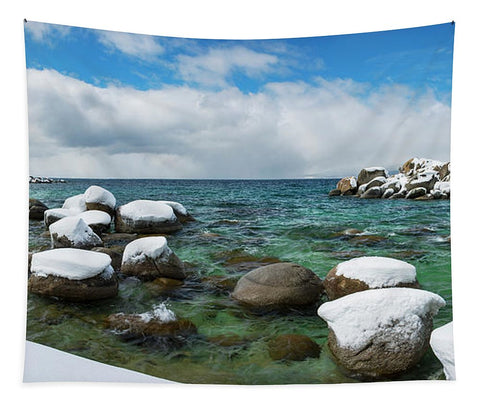 Sand Harbor Winter Panorama By Brad Scott - Tapestry