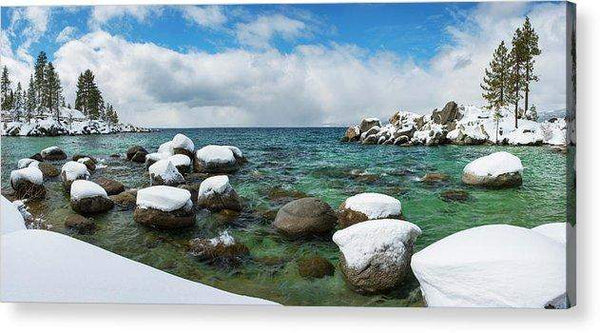 Sand Harbor Winter Panorama By Brad Scott - Acrylic Print