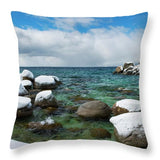 Sand Harbor Winter Panorama By Brad Scott - Throw Pillow-Lake Tahoe Prints