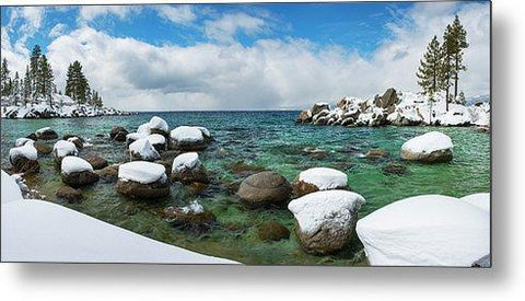 Sand Harbor Winter Panorama By Brad Scott - Metal Print-Lake Tahoe Prints