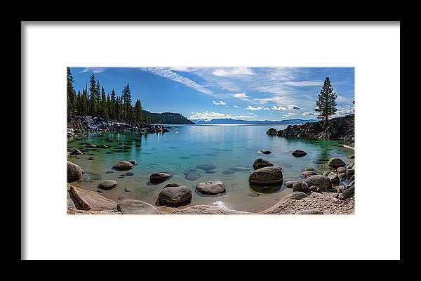 Secret Cove Aquas By Brad Scott - Framed Print