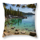 Secret Cove Through The Trees By Brad Scott - Throw Pillow-Lake Tahoe Prints