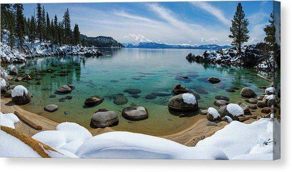 "Secret Cove Winter Panorama By Brad Scott - Canvas Print-12.000"" x 6.000""-Lake Tahoe Prints"