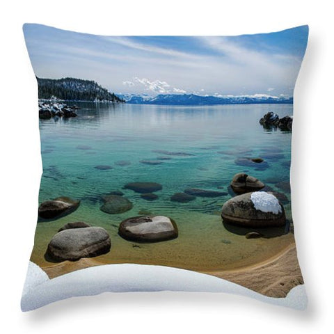 Secret Cove Winter Panorama By Brad Scott - Throw Pillow-Lake Tahoe Prints