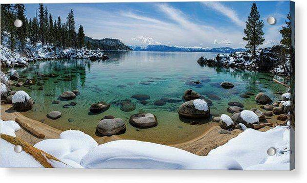Secret Cove Winter Panorama By Brad Scott - Acrylic Print-Lake Tahoe Prints