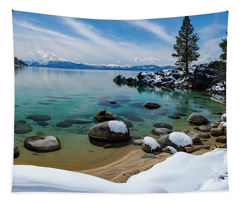 Secret Cove Winter Panorama By Brad Scott - Tapestry