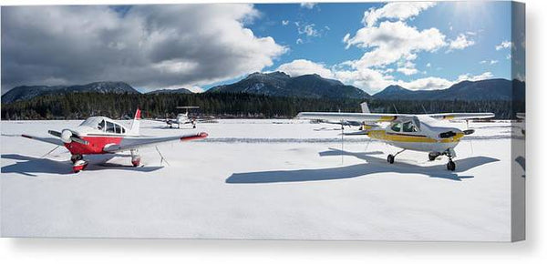 Snow Covered Airplanes at Lake Tahoe Airport - Canvas Print