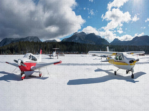 Snow Covered Airplanes at Lake Tahoe Airport - Puzzle