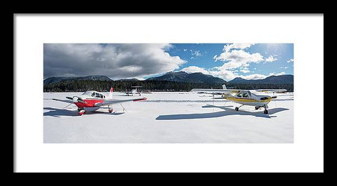 Snow Covered Airplanes at Lake Tahoe Airport - Framed Print