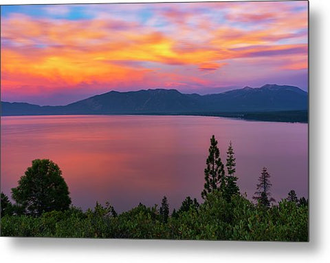 South Lake Tahoe Sunset By Brad Scott - Metal Print