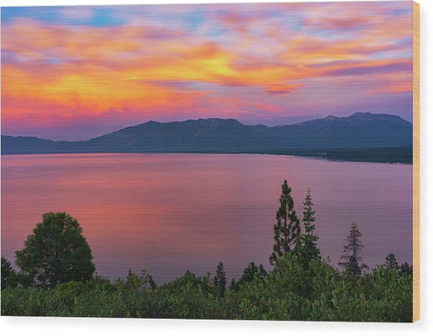 South Lake Tahoe Sunset By Brad Scott - Wood Print