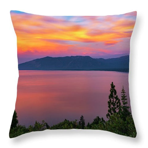 South Lake Tahoe Sunset By Brad Scott - Throw Pillow