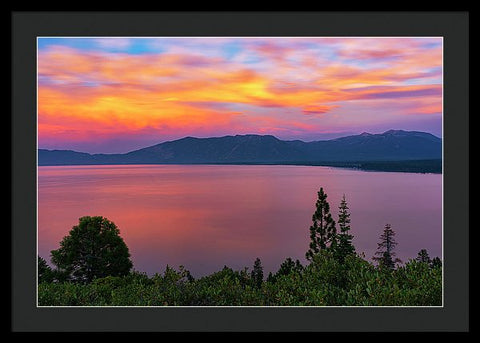 South Lake Tahoe Sunset By Brad Scott - Framed Print