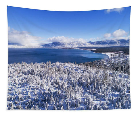 South Tahoe Winter Aerial By Brad Scott - Tapestry